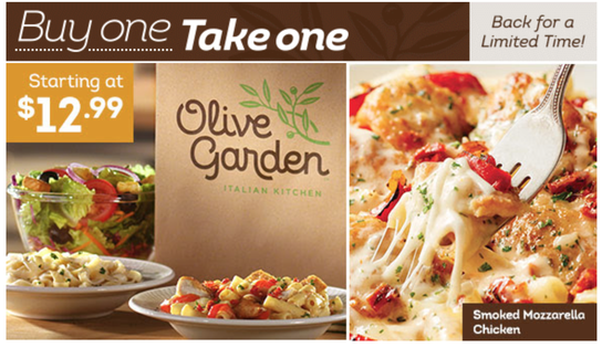 HOT Olive Garden Buy One for 1299 Take One for FREE Dapper