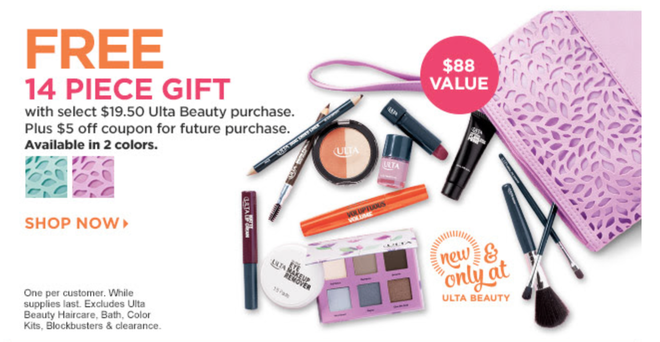 HOT* ULTA.com: FREE 14-Piece Gift Set with Cosmetic Bag With ...