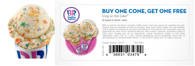 Baskin Robbins Buy one Icing On the Cake Cone Get One FREE