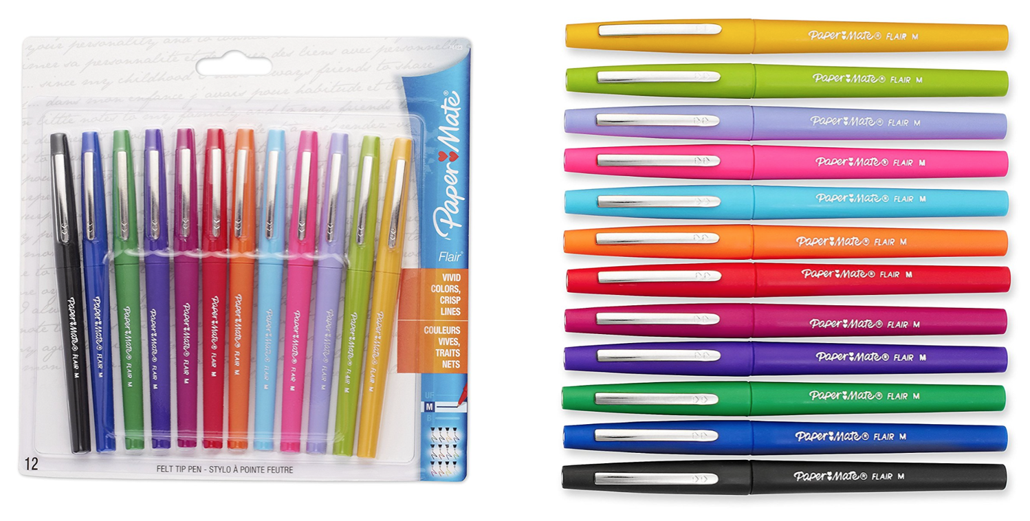 paper mate flair Go to the deal page: paper mate flair felt tip pens, medium point (07mm), tropical and classic colors, 12 count list price: $2411 deal price: $918 you save: $1493 (62%) paper mate flair felt tip pens, medium point (07mm), tropical and classic colors, 12 count expires jun 1, 2018.