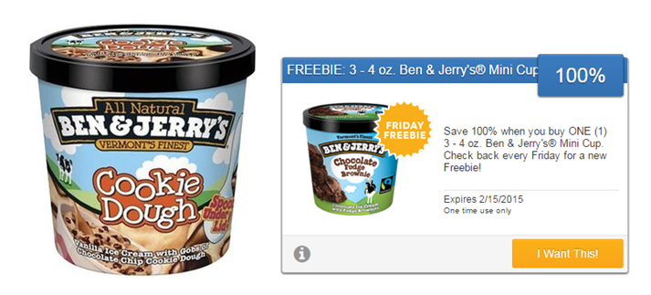 Fabulous SavingStar Friday Freebie: 3-4 Oz. Ben & Jerry's Ice Cream Mini  LR09