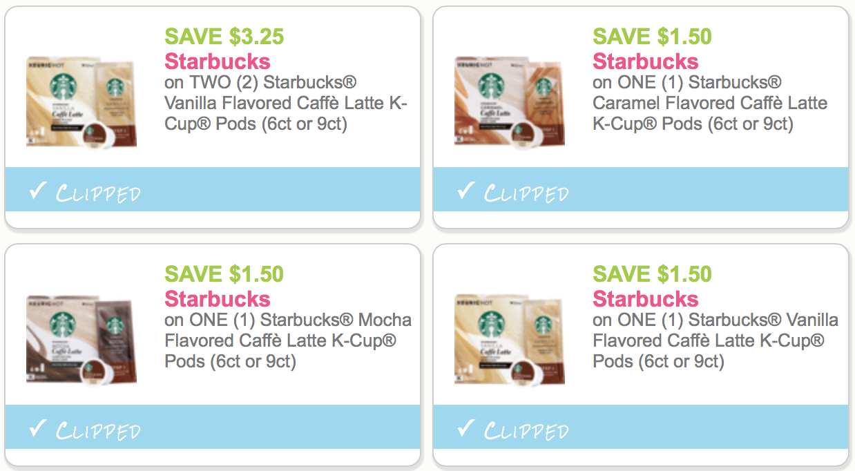 picture about Starbucks Printable Coupon identify 4 Uncommon Contemporary Starbucks Caffe Latte K-Cup Printable Discount coupons