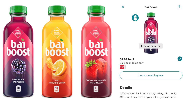 HOT* FREE Bai Boost Beverage after iBotta Cash Back Offer - Dapper Deals
